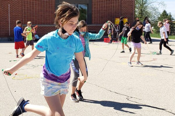 Students jumping rope.