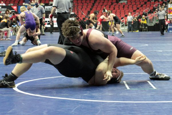 Image of student during wrestling match